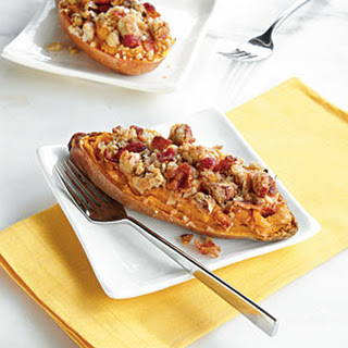 Twice-Baked Sweet Potato Boats with Bacon-Pecan Topping.