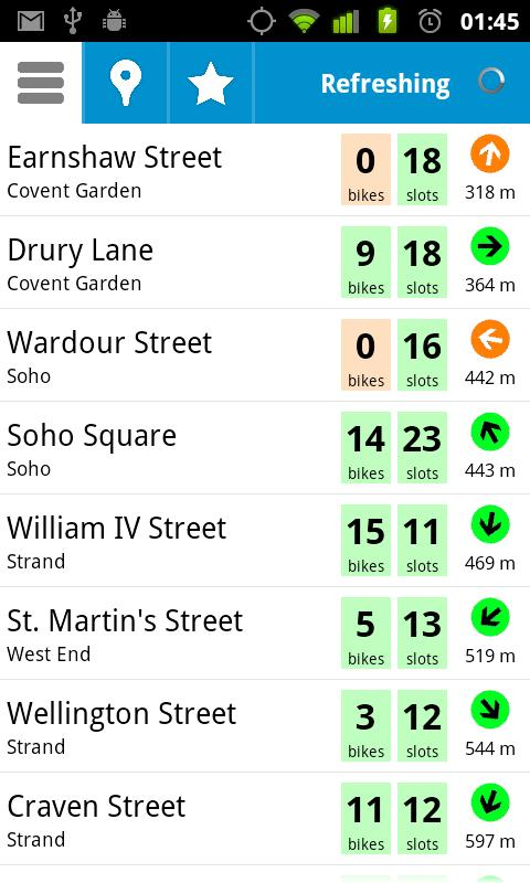 Cycle Hire Widget - screenshot