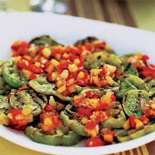 Grilled Green Tomatoes with Red and Yellow Tomato-Basil Salsa.