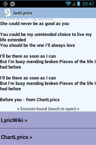 lastLyrics - screenshot