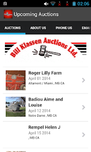 Bill Klassen Auctions Calendar- screenshot thumbnail