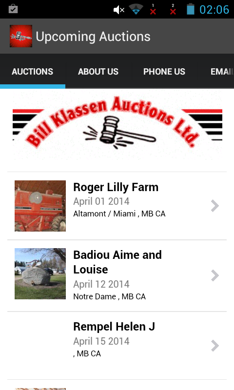 Bill Klassen Auctions Calendar- screenshot