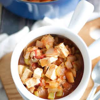 One-Pot Mushroom Tomato Tofu Stew.
