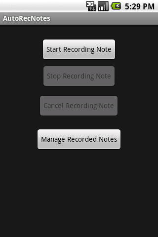 AutoRecNotes- screenshot