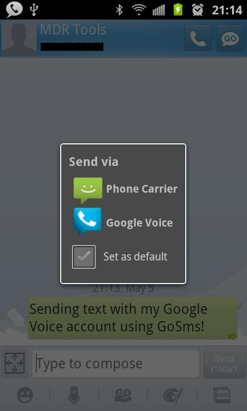 Google Voice SMS Integration - screenshot