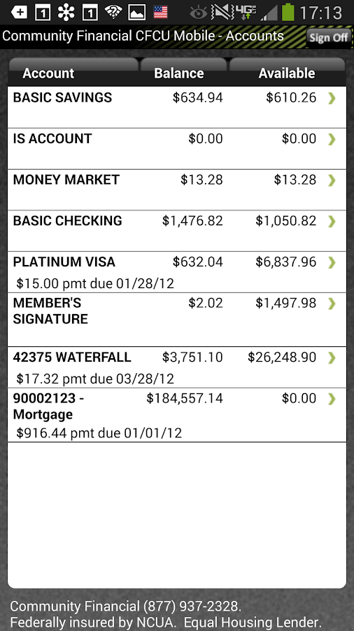 Community Financial Mobile - screenshot