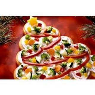 Tree-Shaped Crescent Veggie Appetizers.