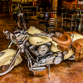 Wild American Indian by Jim Moon - Transportation Motorcycles ( american indian motercycle, motercycle, landmark cafe, hdr, christopher creek az, american, arizona, indian, high dynamic range photograhpy, landmark bar )