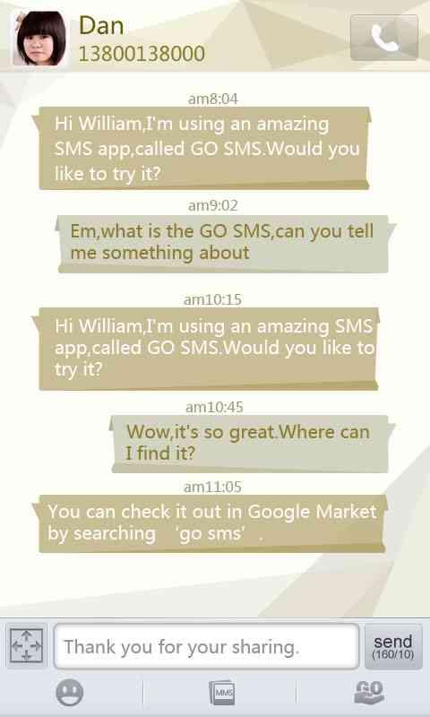 GO SMS Pro Cornner theme screenshot #1