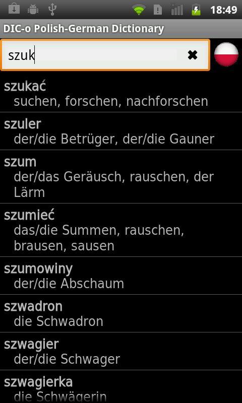 Polish - German offline dict.- screenshot
