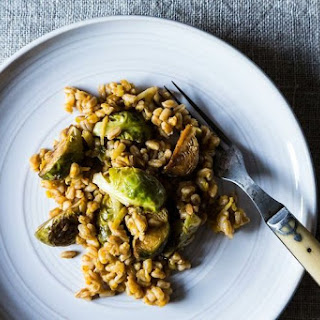 Farro with Leeks and Balsamic Roasted Brussels Sprouts Recipe