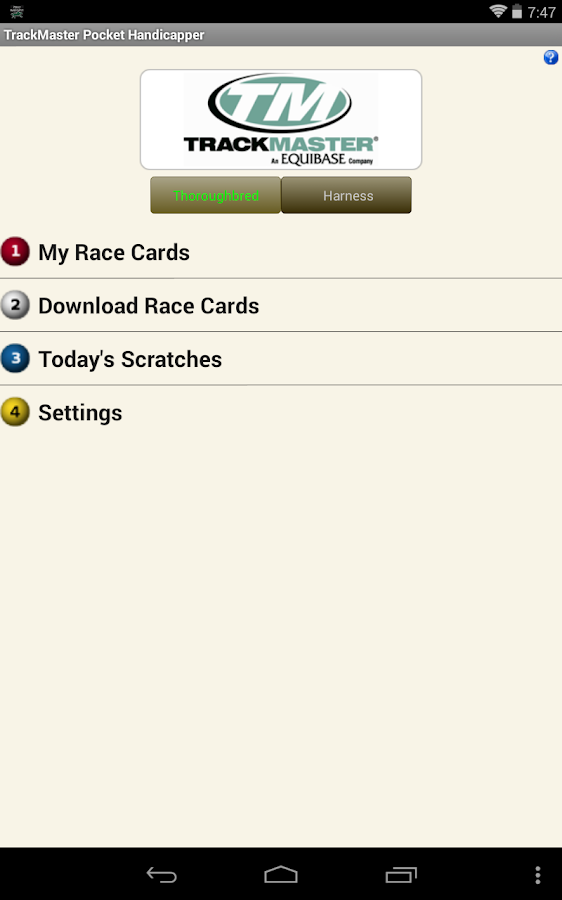 TrackMaster Pocket Handicapper - screenshot