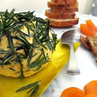 Apricot Goat Cheese Ball with Fried Rosemary and Shallots.