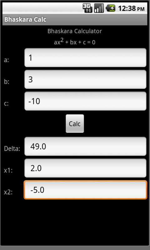 Bhaskara Calculator - screenshot