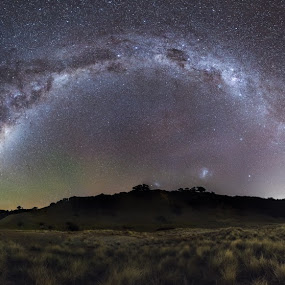 Man O'war Milky Way by Mikey Mackinven - Landscapes Starscapes ( milkyway, arc, stars, night, panorama, new zealand, galaxy )