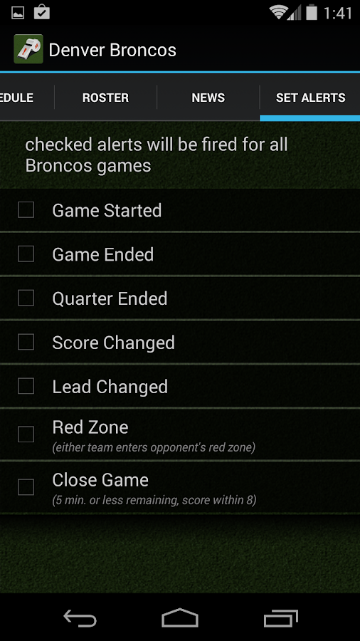 Sports Alerts - NFL edition - screenshot