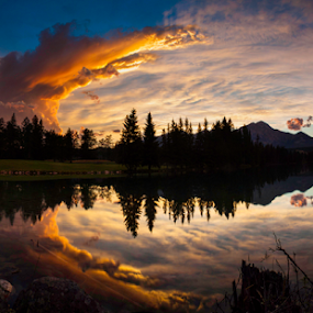 Sunset over Lac Beauvert by Doug Clement - Landscapes Travel ( clouds, water, colourful, nature, sunset, lake, jasper, landscape, relax, tranquil, relaxing, tranquility,  )