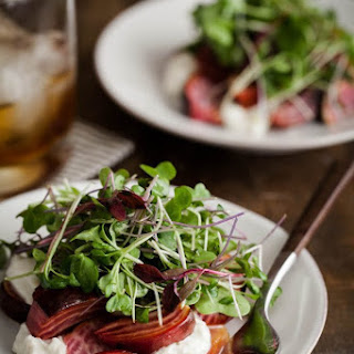 Roasted Beets and Burrata with Micro Greens