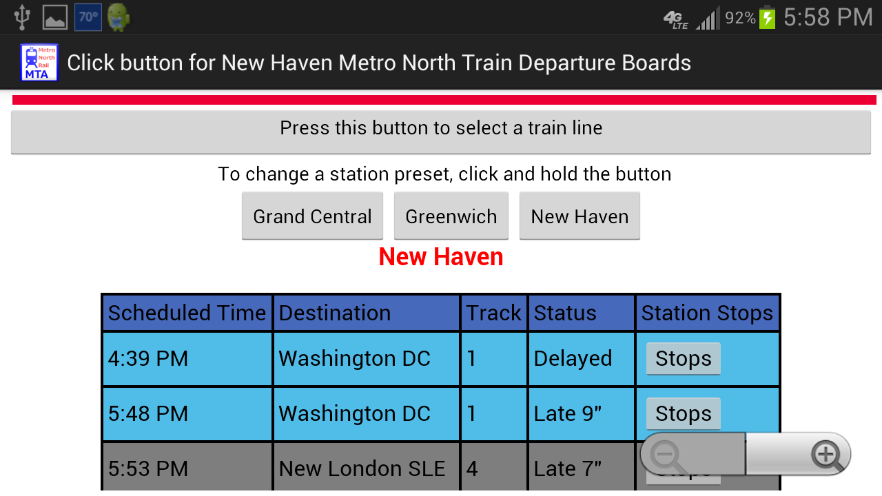 Metro North Departures- screenshot