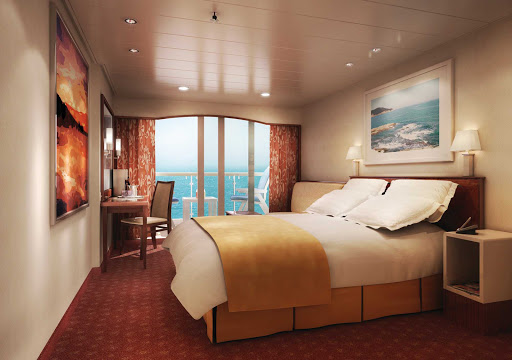 Norwegian-Spirit-Balcony-Stateroom - The Balcony Stateroom aboard Norwegian Spirit can house up to three guests. It offers comfortable beds and magnificent views from a private balcony.