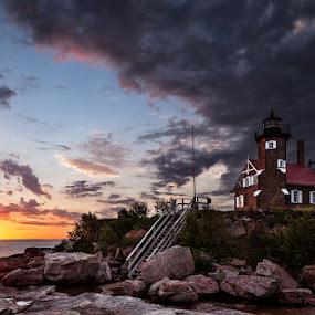 Sand Island lighthouse by Ben Podolak - Landscapes Sunsets & Sunrises ( apostle islands, sand island, lighthouse, lake superior, sunrise,  )