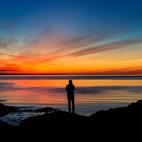 The photographer by Bragi Kort - Landscapes Cloud Formations ( cloud formations, clouds, iceland, bragi kort, silhouette, sunset, pollution, seascape, sun,  )