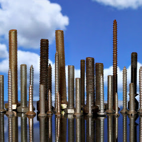 Screw City... by Ramakant Sharda - Artistic Objects Still Life ( clouds, buildings, screw, cityscape, city, object )