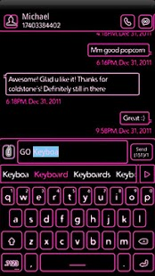 NEON Hot Pink GO Keyboard Skin - screenshot thumbnail