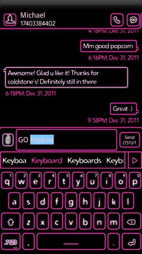 NEON Hot Pink GO Keyboard Skin - screenshot