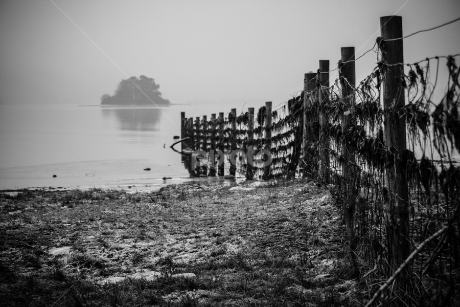 Dirty fence by Werner Booysen - Black & White Landscapes ( blackandwhite, fence, b&w, black and white, landscape photography, lake, landscape, lake district, werner booysen, , relax, tranquil, relaxing, tranquility )