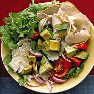 Turkey Salad with Tomato, Avocado, and Parmesan.