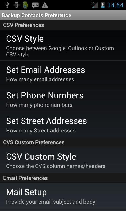 Backup Contacts: captura de pantalla