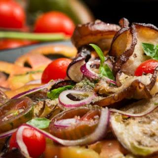 Roasted Eggplant Carpaccio and Exotic Tomato Salad.