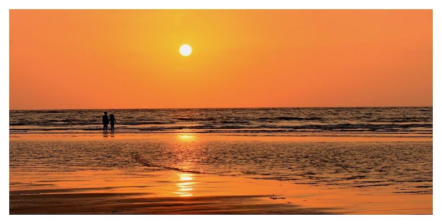 Aks by Sumit Kumar - Landscapes Beaches ( reflection, sunset, silhouette, beach, sun )