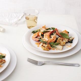 Spicy Cauliflower, Bok Choy, and Shrimp Stir-Fry with Coconut