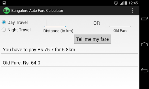 Bangalore Auto Fare Calculator screenshot