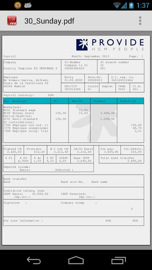 Payslip for SAP- screenshot