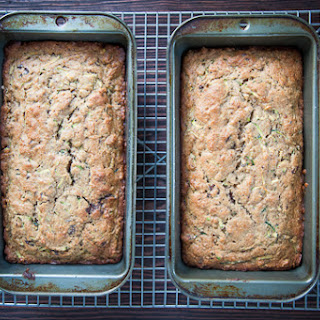 Zucchini Bread with Pistachios and Chocolate Chunks.