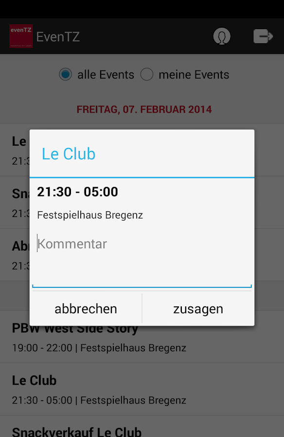 evenTZ- screenshot