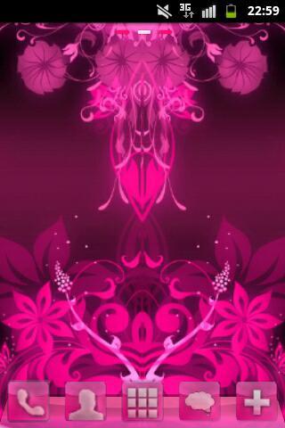 GO Launcher Theme Pink Flowers- screenshot
