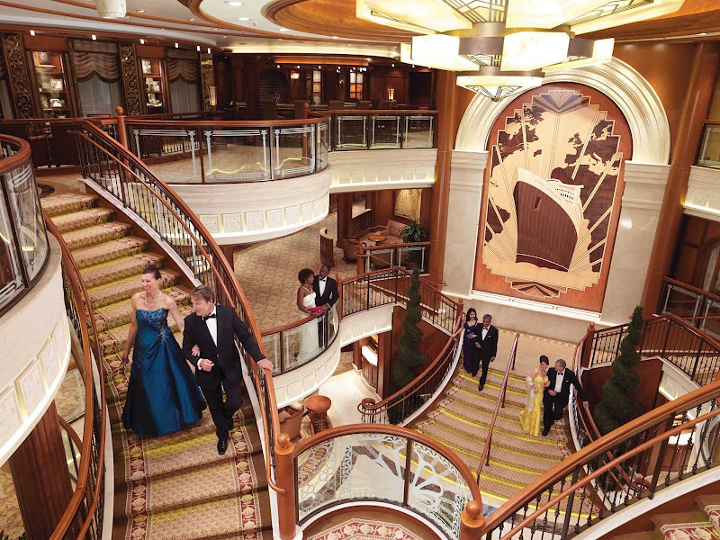 The Grand Lobby of Queen Elizabeth, one of the most storied ships at sea.