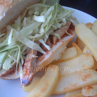 Barbequed Pork Chop Sandwiches with Coleslaw.