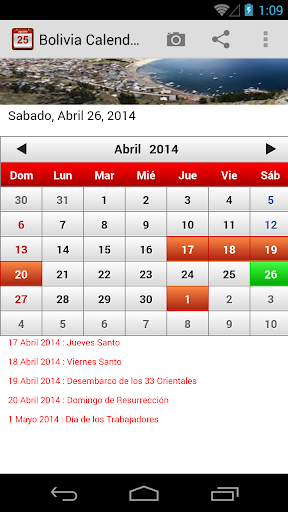 Bolivia Calendario