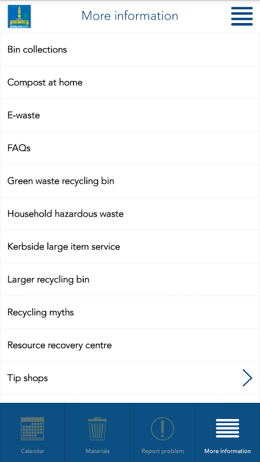 Brisbane Bin and Recycling- screenshot