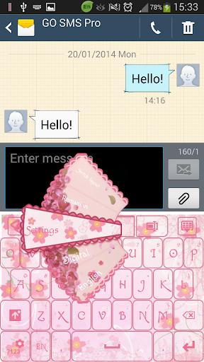 ピンクの花のキーボード