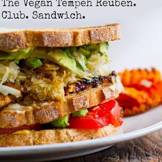Tempeh Reuben Club Sandwich.