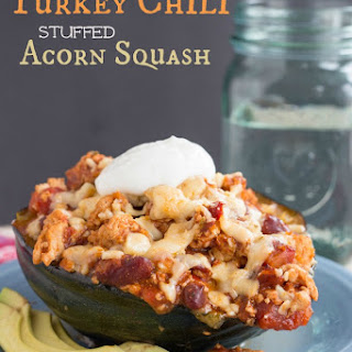 Fire Roasted Garlic Turkey Chili Stuffed Acorn Squash