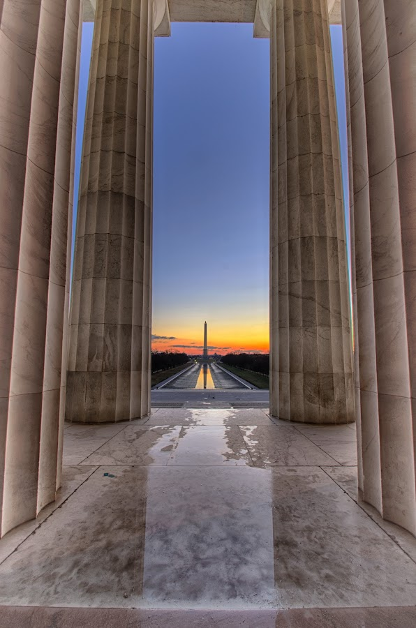 Washington Monument from Lincoln Memorial by Daniel Potter - Buildings & Architecture Statues & Monuments