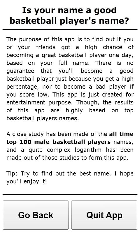 Basketball Player Names - screenshot