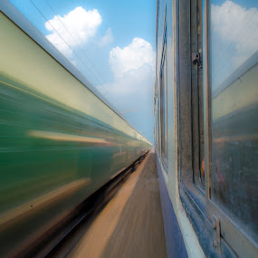 Running train Shot captured in shutter priority mode by Abhijeet Kumar - Transportation Trains ( train station, highway, high speed photography, transport, shutter, landscape photography, train, transportation, landscape, landscapes, running, trains )